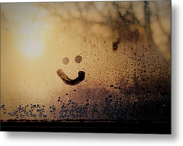 Close-up Of Smiley On Condensed Glass Metal Print by Lacy Custance / Eyeem