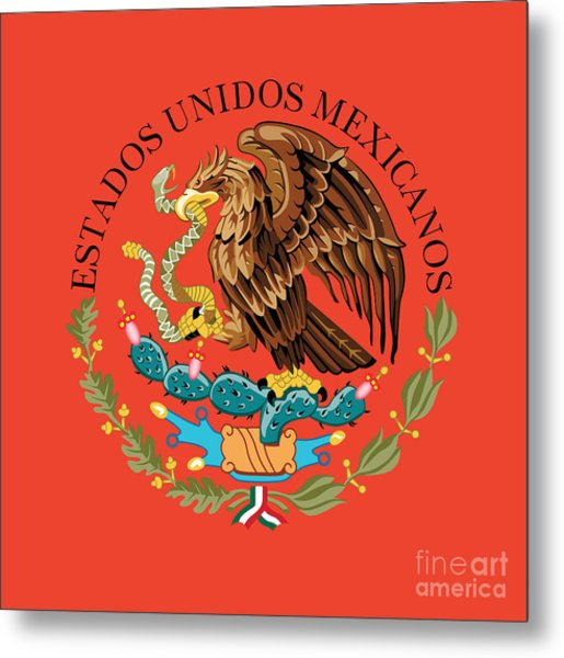 Close Up Of The Seal Within The Mexican National Flag Metal Print