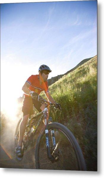Close Up Portrait Of A Mountain Biker Metal Print