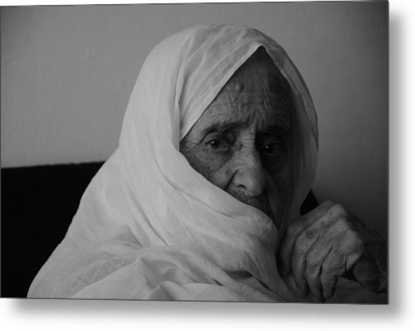 Close-up Portrait Of Senior Woman In Metal Print by Nabeel Yakzan / Eyeem