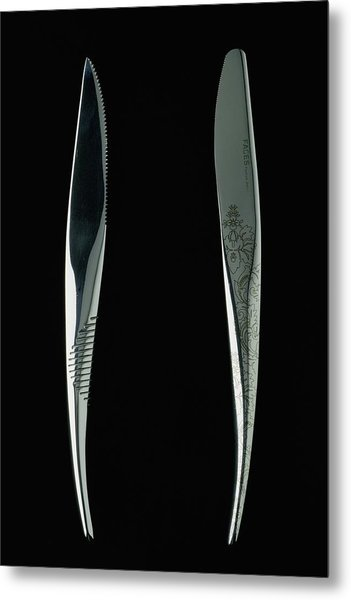Close-up View Of Two Knives Metal Print