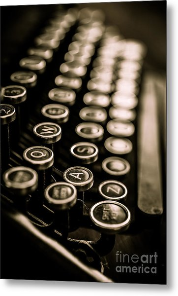 Metal Print featuring the photograph Close Up Vintage Typewriter by Edward Fielding