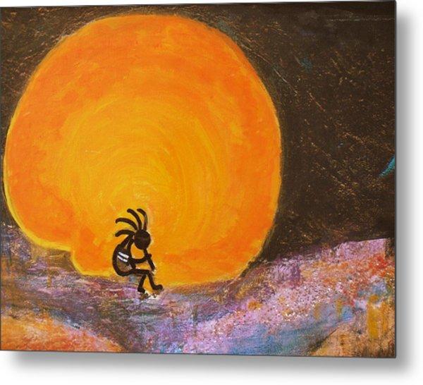 Closer View Kokopelli On A Marmalade Moon Night Metal Print by Anne-Elizabeth Whiteway