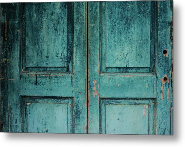 Closeup Of Blue Turquoise Old Textured Metal Print by Sean Idielic