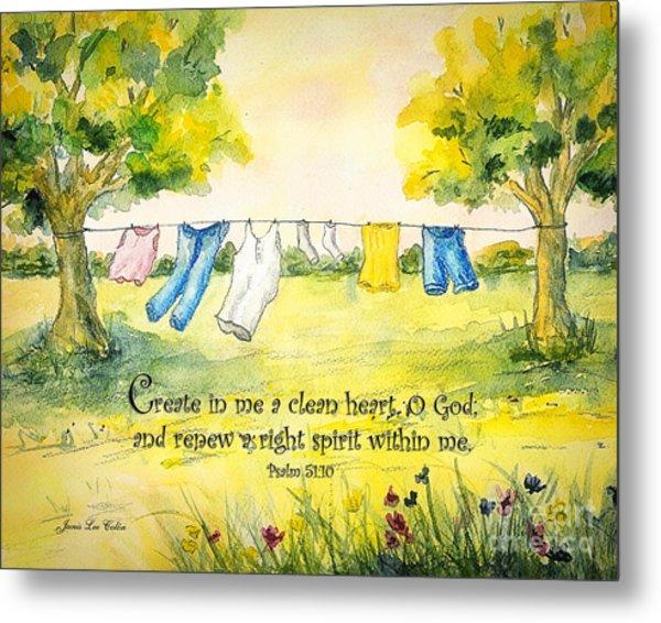 Clothesline Psalm 51 Metal Print