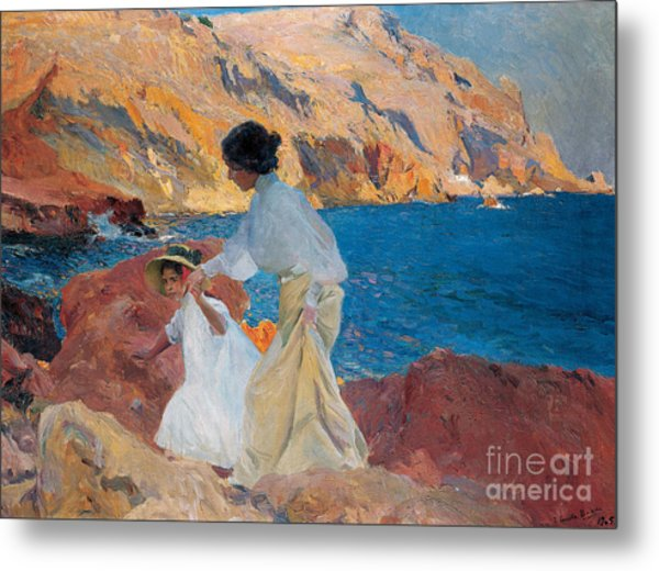 Clotilde And Elena On The Rocks Metal Print