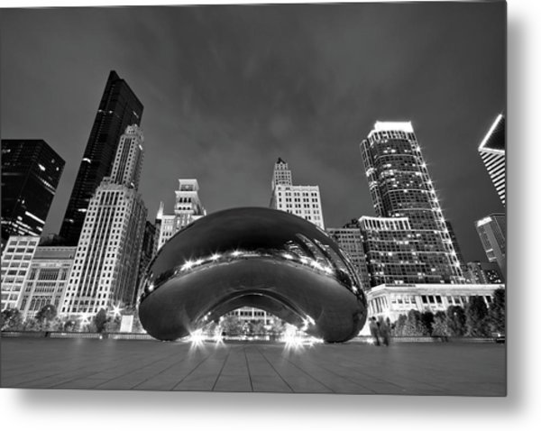 Cloud Gate And Skyline Metal Print