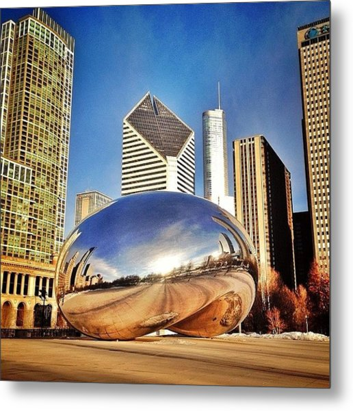 Cloud Gate chicago Bean Sculpture Metal Print