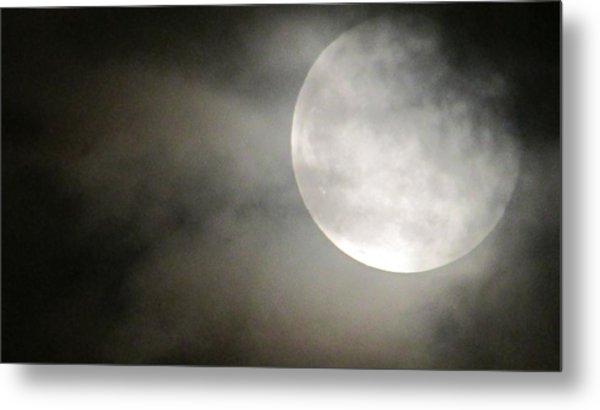 Clouded Moon Metal Print