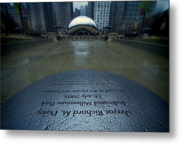Metal Print featuring the photograph Cloudgate With Dedication In Foreground by Sven Brogren