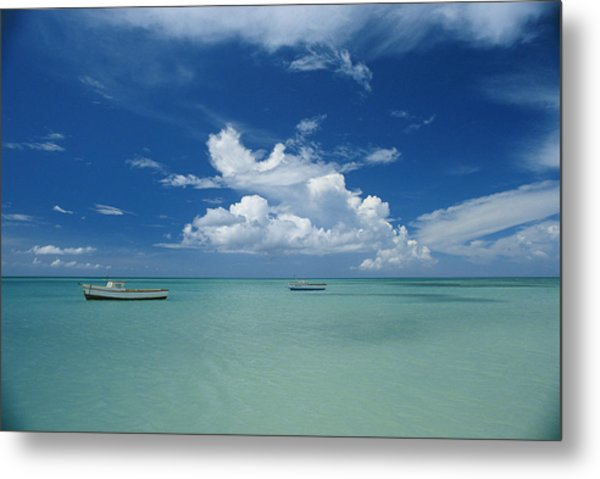Clouds And Boats, Aruba Metal Print by Skip Brown
