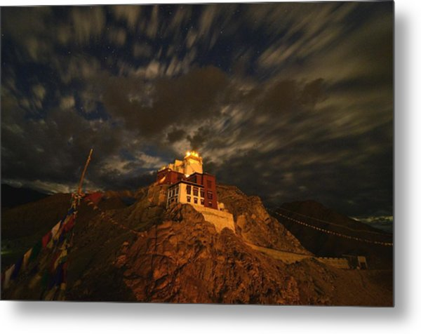 Clouds And Stars Over Tsemo Metal Print by Aaron Bedell
