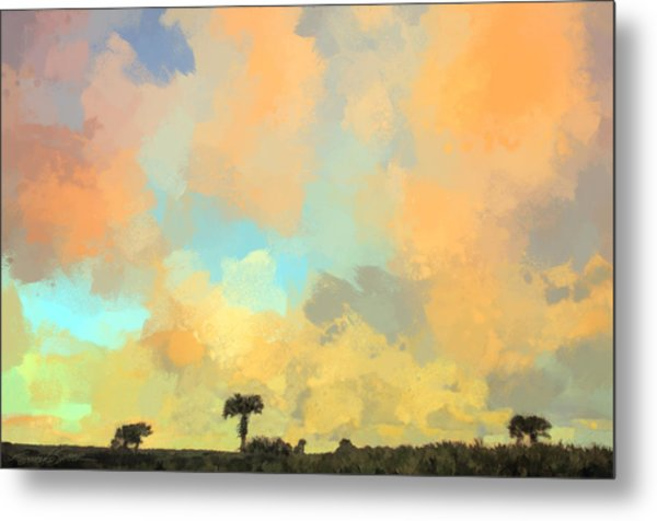 Clouds And Sunset Over Beach Dunes Metal Print