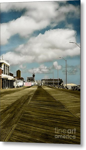 Clouds Over The Boardwalk Metal Print
