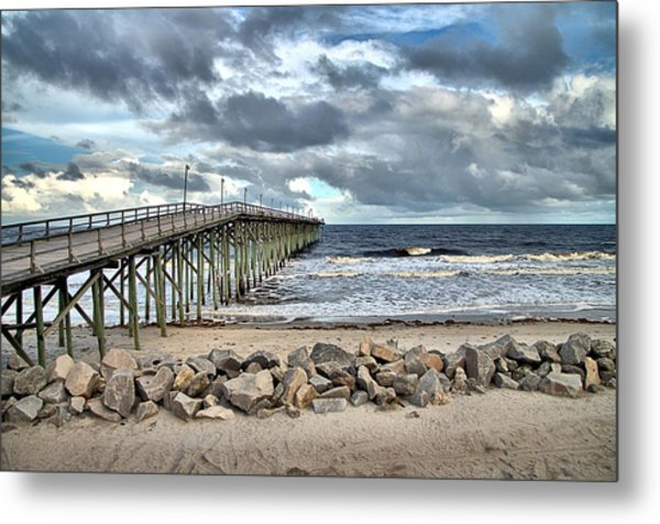 Clouds Over The Pier Metal Print
