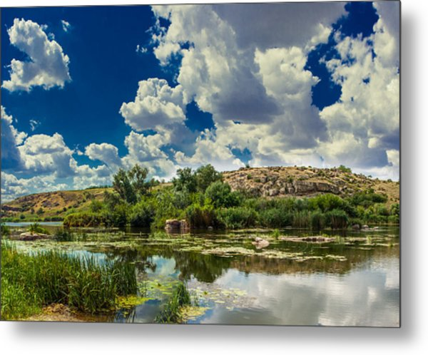 Clouds Over The River Metal Print