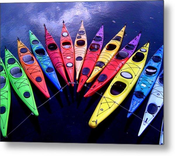 Clustered Kayaks Metal Print