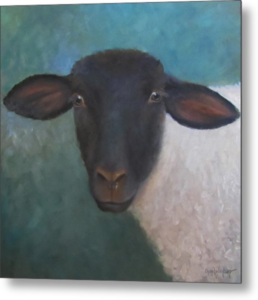 Clyde - A Suffolk Lamb Painting Metal Print
