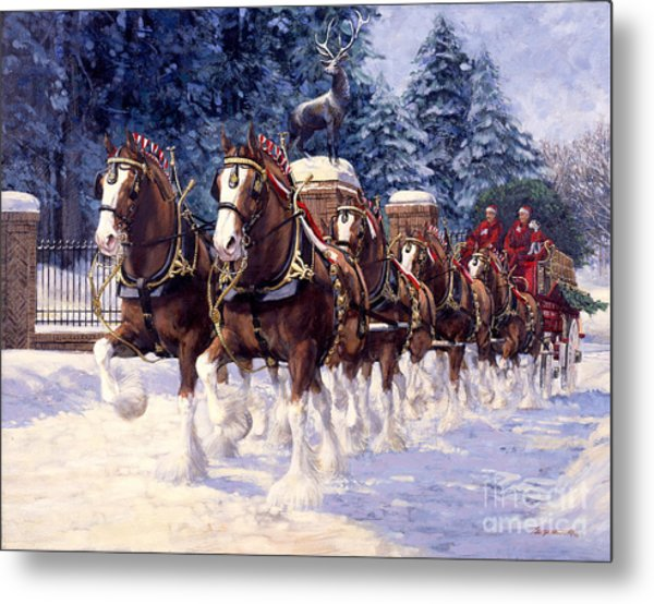 Clydesdale Hitch Grants Farm Winter Metal Print
