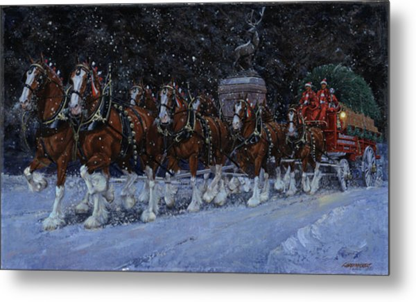 Clydesdales Coming Through The Gate Snowing Metal Print