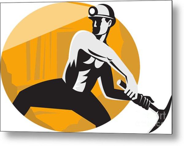Coal Miner With Pick Ax Striking Retro Metal Print by Aloysius Patrimonio