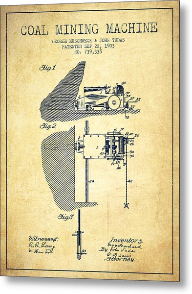 Coal Mining Machine Patent From 1903- Vintage Metal Print