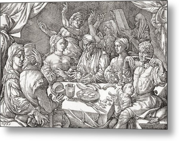 Coarse Behaviour At The Dining Table During The Renaissance Period.  After A Spanish Copper Metal Print