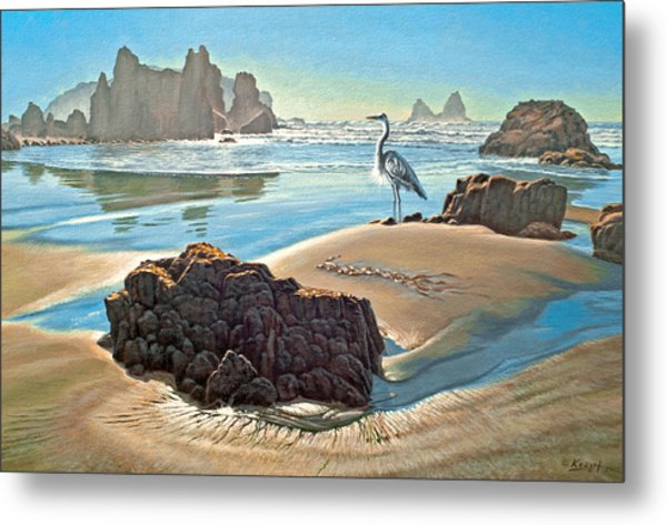 Coast With Great Blue Heron Metal Print