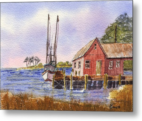 Shrimp Boat - Boat House - Coastal Dock Metal Print by Barry Jones