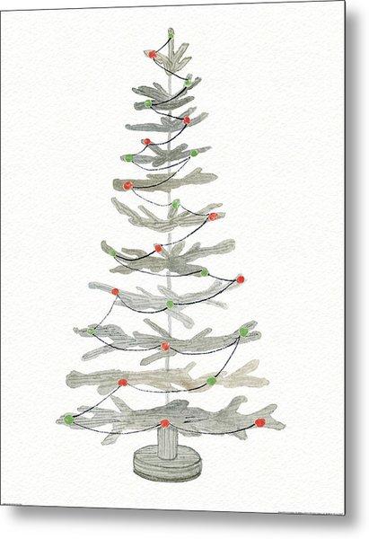 Coastal Holiday Tree II Red Metal Print
