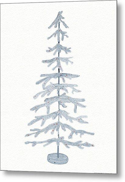 Coastal Holiday Tree Iv Red Metal Print by Kathleen Parr Mckenna