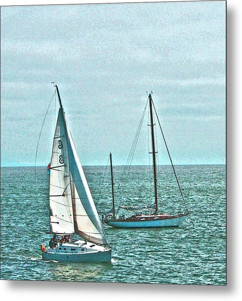 Coastal Sail Boats Metal Print