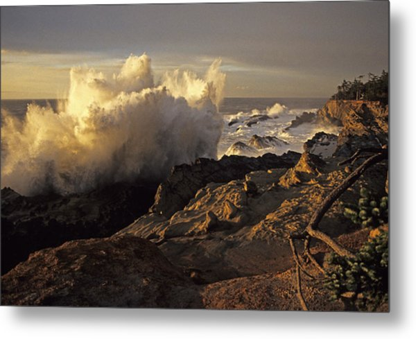 Coastal Storm Wave Metal Print