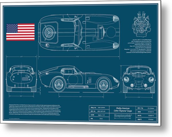 Cobra Daytona Coupe Blueplanprint Metal Print