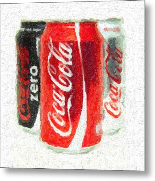 Coca Cola Art Impasto Metal Print
