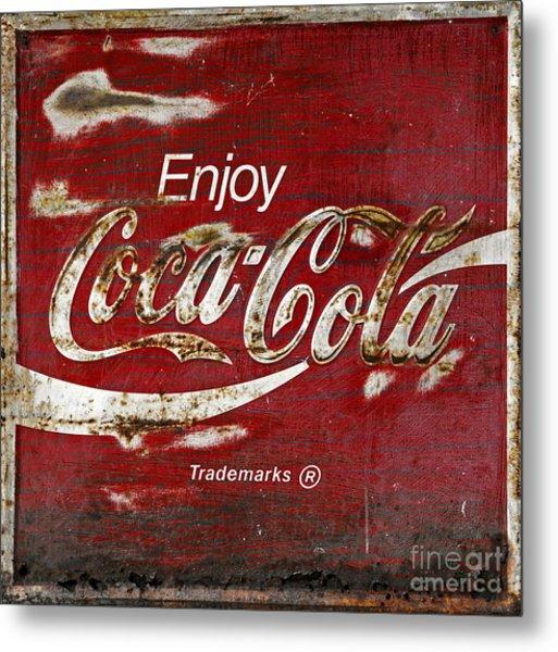 Coca Cola Wood Grunge Sign Metal Print