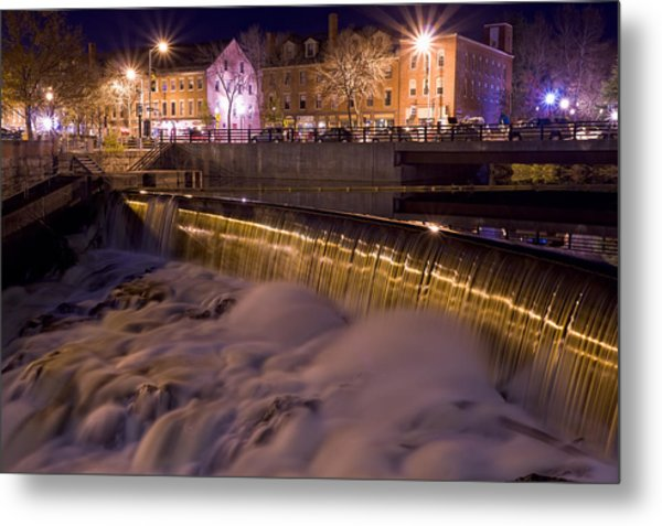 Metal Print featuring the photograph Cocheco River Falls Dover Nh by Jeff Sinon
