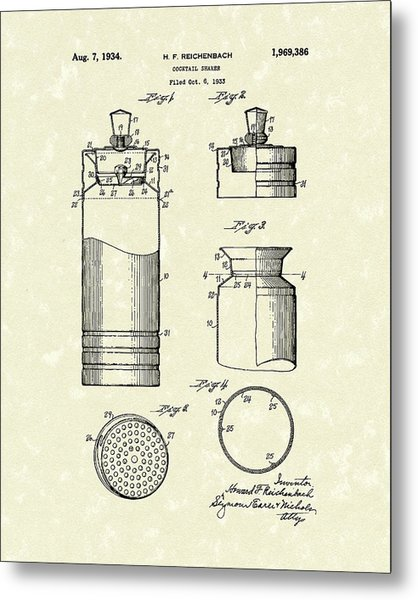 Metal Print featuring the drawing Cocktail Shaker 1934 Patent Art by Prior Art Design