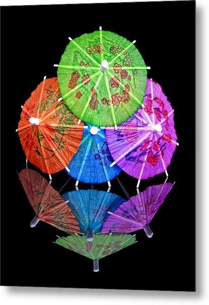 Cocktail Umbrellas Reflected Metal Print