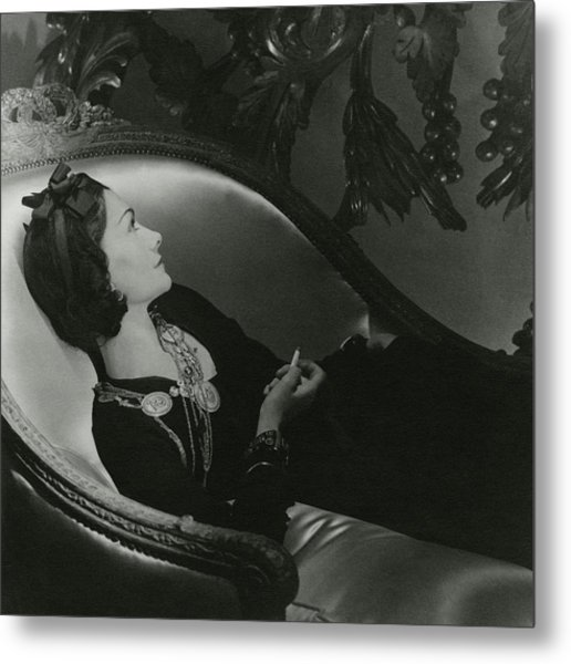 Coco Chanel On A Chaise Longue Metal Print