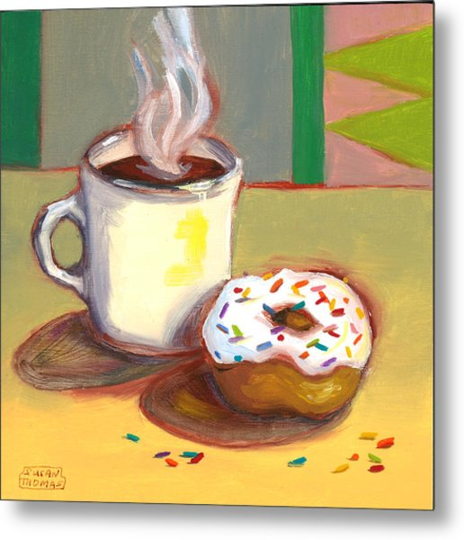 Coffee And Donut Metal Print