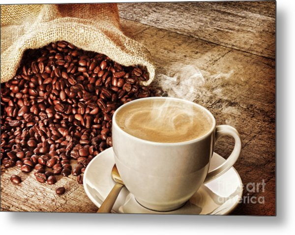 Coffee And Sack Of Coffee Beans Metal Print