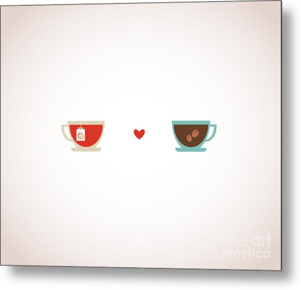 Coffee And Tea In Love Cups Metal Print
