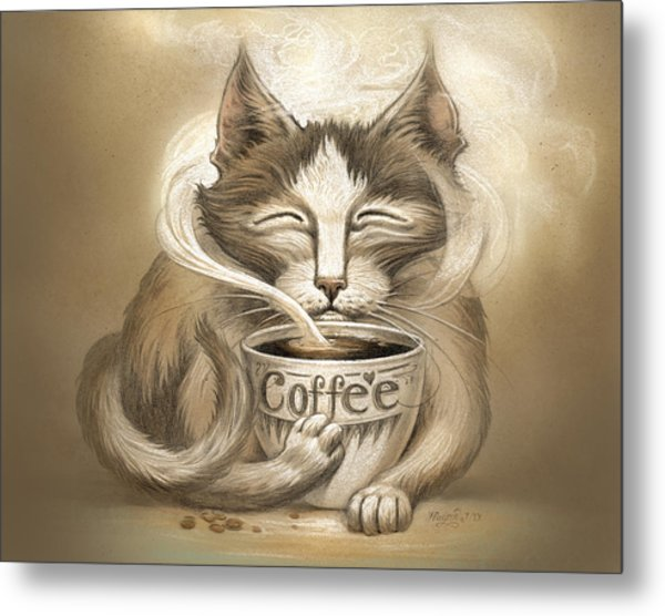 Coffee Cat Metal Print