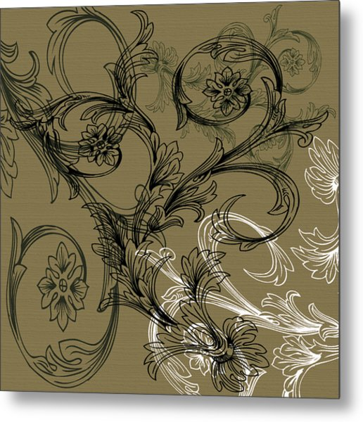 Coffee Flowers 3 Olive Metal Print