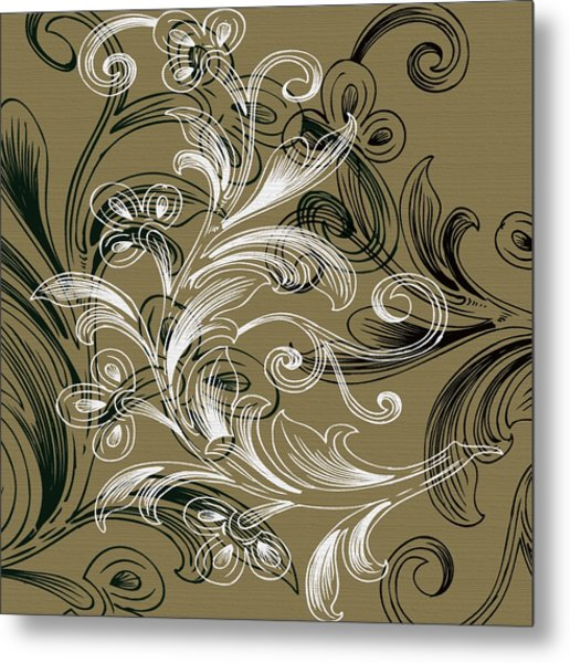 Coffee Flowers 4 Olive Metal Print