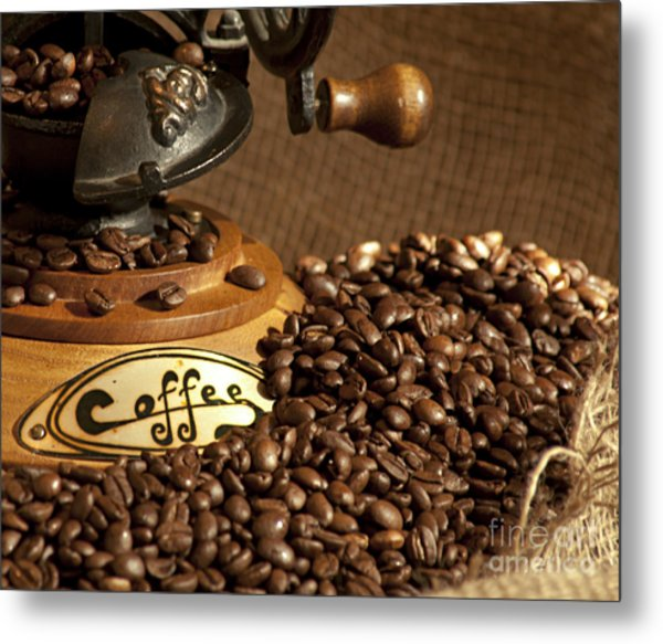Coffee Grinder With Beans Metal Print