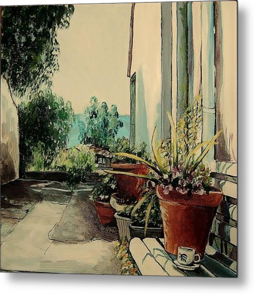 Coffee In The Street Metal Print by Anne Parker