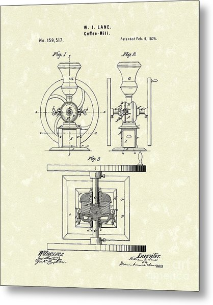 Coffee Mill 1875 Patent Art Metal Print