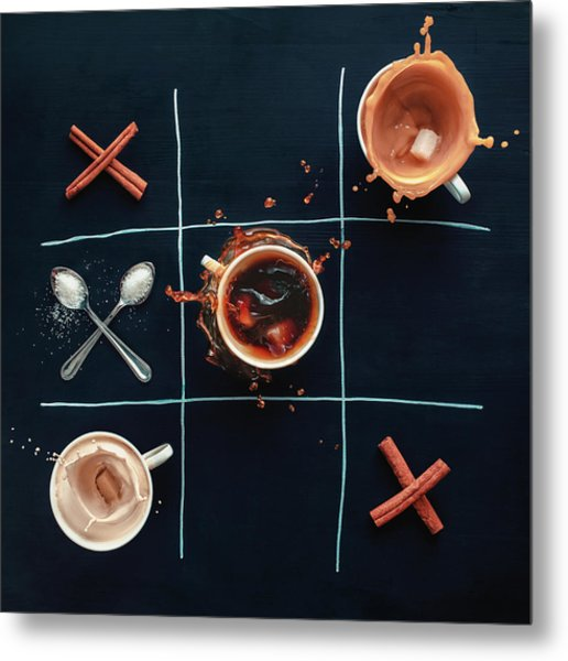 Coffee Tic-tac-toe Metal Print by Dina Belenko Photography